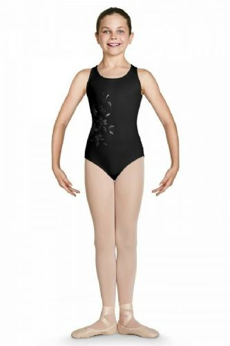 Bloch Girls Tank Style Mesh Wrap Back Floral Front Leotard CL4920 Katana Black